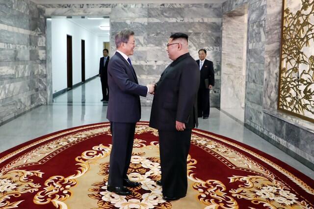 韓國總統文在寅和朝鮮領導人金正恩會面,2018年5月26