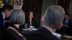 La vicepresidenta de Estados Unidos, Kamala Harris, se reúne con líderes empresariales con miras a impulsar el desarrollo inclusivo en el Triángulo Norte, en el predio de la Casa Blanca el 27 de mayo de 2021 en Washington.
