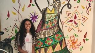 Falastinia est l'oeuvre de Ranim Daraghmah, une jeune artiste palestinienne, peinte dans le camp de réfugiés de Balata à Naplouse.