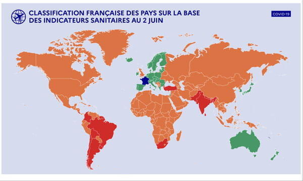 La carte des pays classés en vert, orange et rouge pour voyager à l'étranger cet été