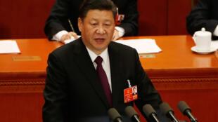 Rais wa China Xi Jinping, akihutubia mkutano mkuu wa chama chake. 20 Machi 2018