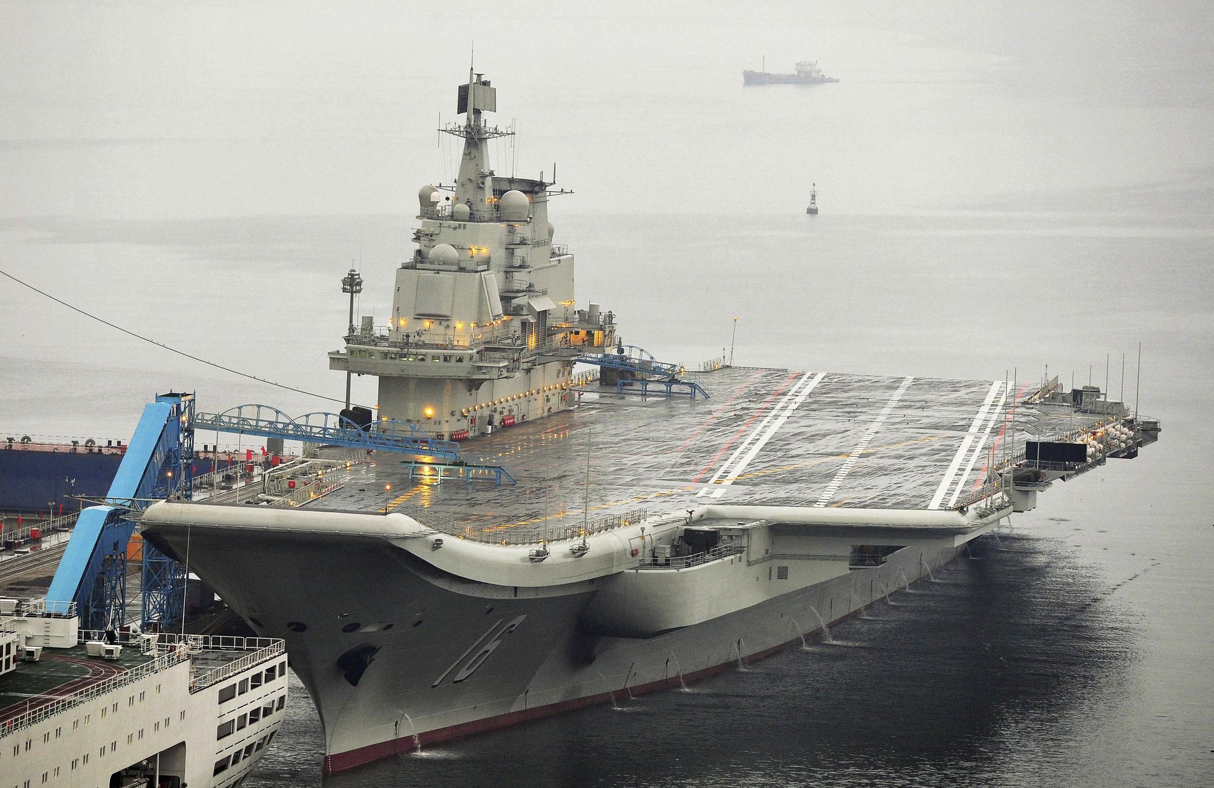 Chiếc tàu sân bay đầu tiên của Trung Quốc mang tên Liêu Ninh đã chính thức được đưa vào sử dụng ngày 25/9/2012.