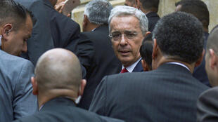 Former Colombian president Alvaro Uribe arrives for a hearing before the Supreme Court in Bogota in October 2019