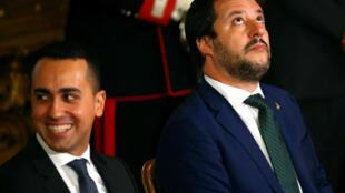 Les vice-Premiers ministres italiens Luigi Di Maio (g) et Matteo Salvini (ici le 1er juin 2018 à Rome)