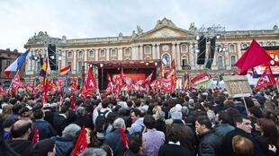 Front de Gauche candidate Jean-Luc Mélenchon's rally in Toulouse onThursday