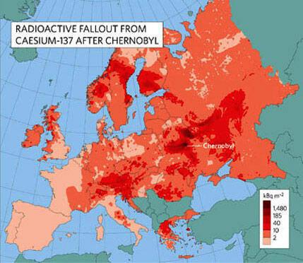 Châu Âu và độ nhiễm cesium 137 từ Tchernobyl (tài liệu năm 1996)