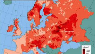 État de la contamination au césium-137 en 1996 suite à l'accident de la centrale nucléaire de Tchernobyl.