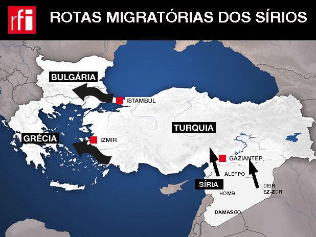 Rotas Migratórias dos sírios