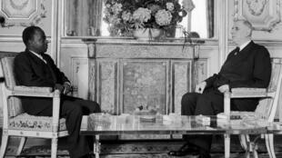 Felix Houphouët-Boigny et le général de Gaulle en 1961.
