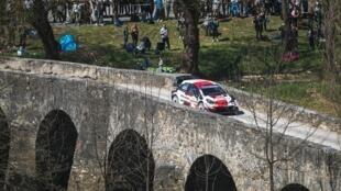 Sébastien Ogier (Toyota) lors de la deuxième et avant-dernière journée du Rallye de Croatie, à Novigrad na Dobri, le 24 avril 2021