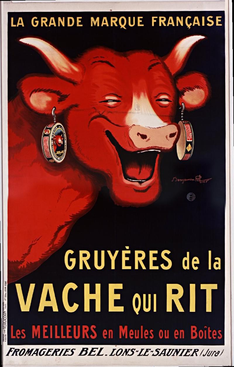 "Poster by illustrator Benjamin Rabier for ""La Vache qui Rit"" cheese."