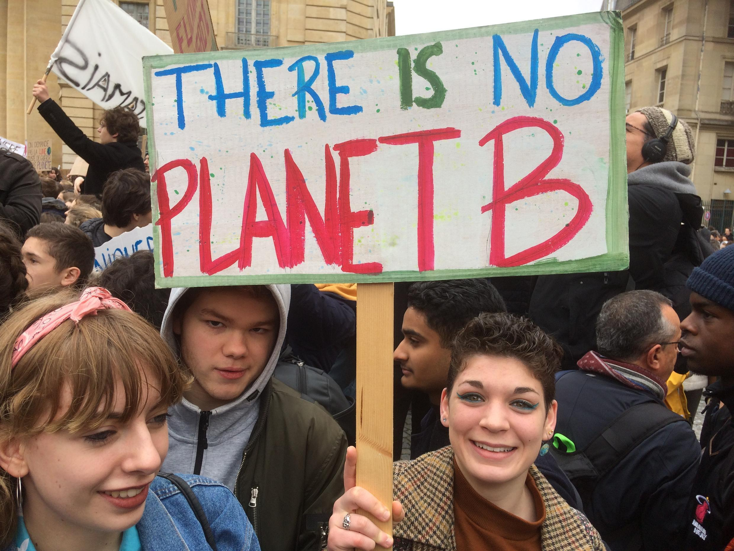 Young people at a climate march in Paris, 15 March, 2019.