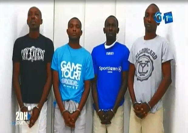 Coup plotters apprehended by the authorities (Ondo Obiang second from left).
