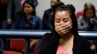 Evelyn Hernandez à l'annonce de son acquittement par le tribunal de Ciudad Delgado, le 19 août 2019.