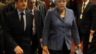 Shugaban Faransa Nicolas Sarkozy da Shugabar Gwmnatin Jamus Angela Merkel