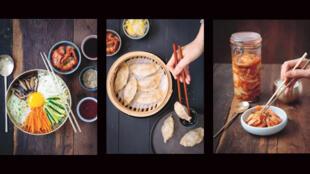 3 plats : le riz aux 5 couleurs, les raviolis et du kimchi.