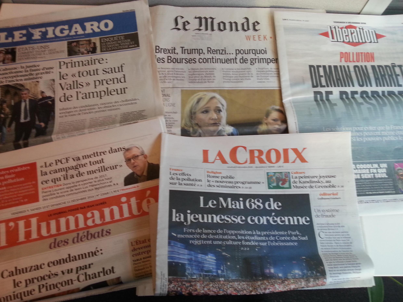 Primeiras páginas dos jornais franceses de 09 de dezembro de 2016