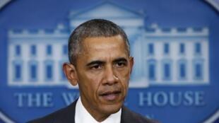 Tổng thống Mỹ Barack Obama phát biểu từ Nhà Trắng. Ảnh ngày 13/11/2015.