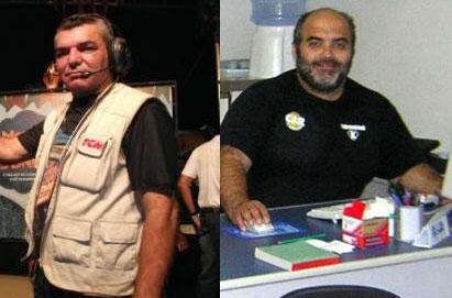 Fotomontagem dos jornalistas assassinados na última semana, José Lacerda da Silva (E) e Pedro Palma.