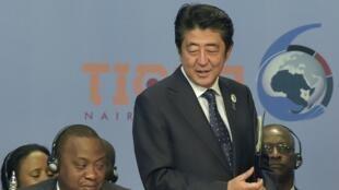 Shinzo Abe, primeiro-ministro japonês a 27 de Agosto de 2016 no Quénia na Conferência Internacional de Tóquio para o Desenvolvimento de África