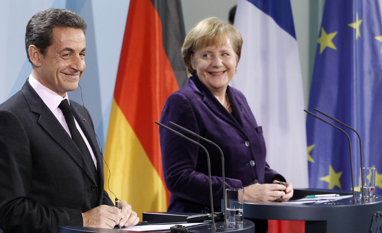 Николя Саркози и Ангела Меркель на пресс-конференции в Берлине 09/01/2012