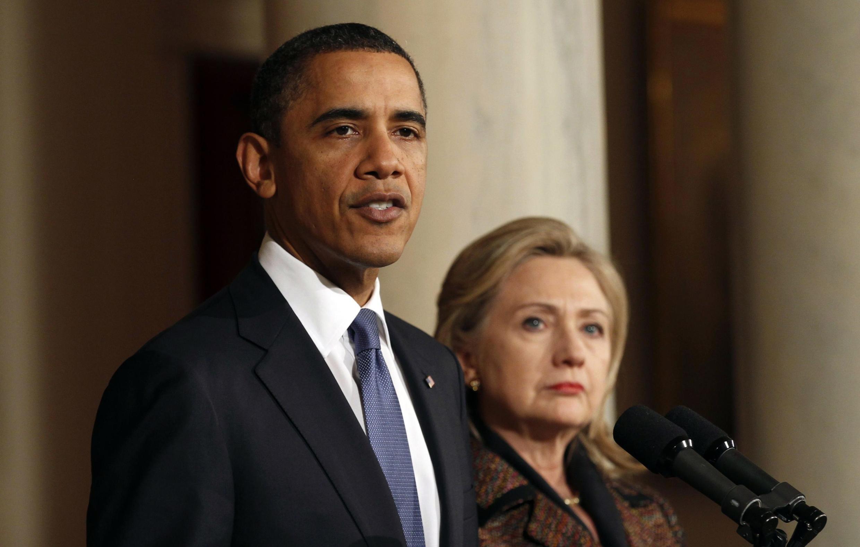 Barack Obama y Hillary Clinton, el 23 de febrero de 2011 en la Casa Blanca, Washington.