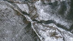 Ảnh chụp từ vệ tinh địa điểm thuộc tỉnh Hamgyong được cho là nơi Bắc Triều Tiên tiến hành vụ thử hạt nhân lần thứ 3 ngày 11/2/2013