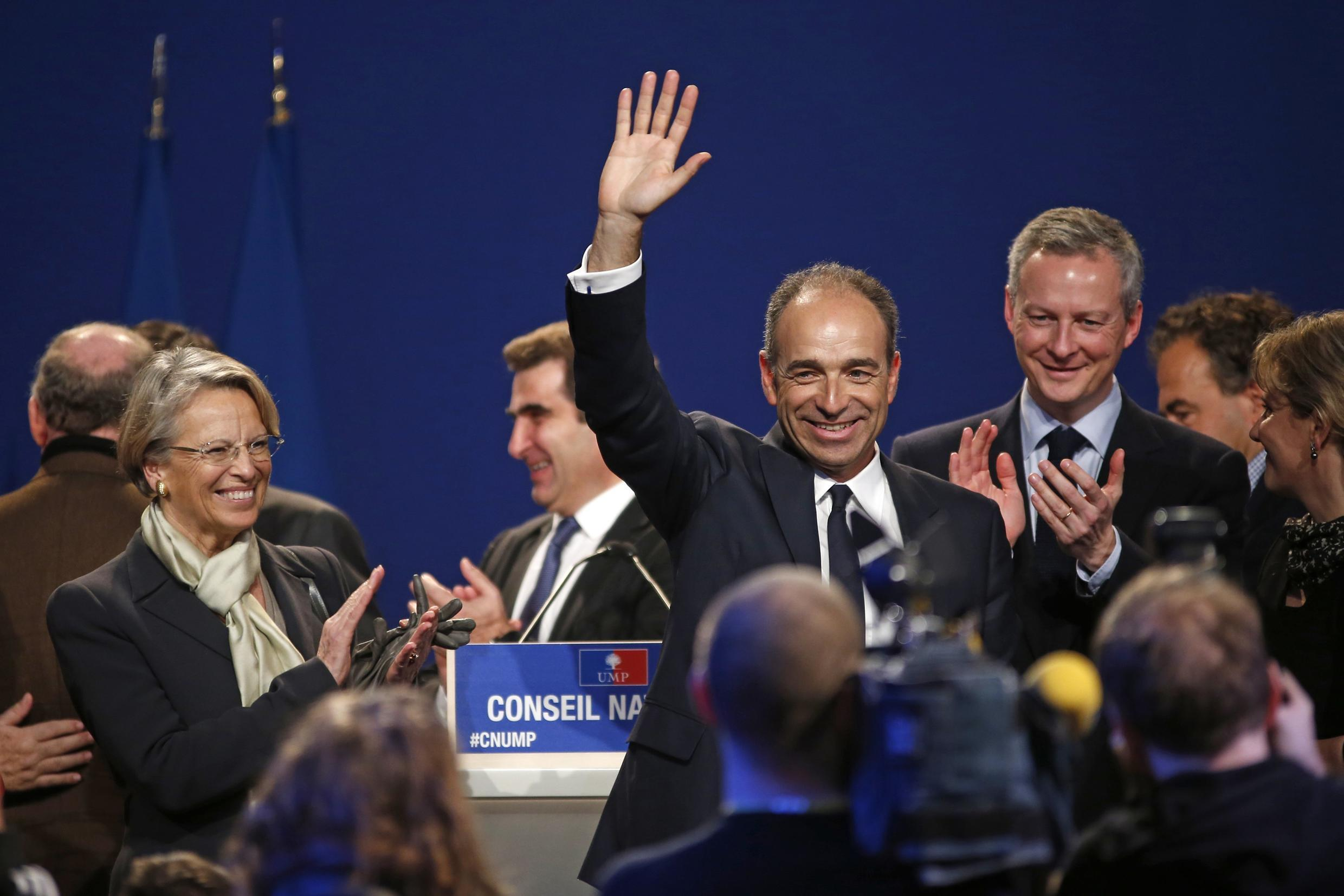 Jean-François Copé (middle) at the UMP national meeting on Saturday.