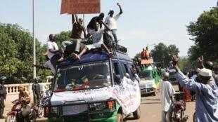 Manifestation de la Copam (Coordination des organisations patriotiques au Mali) à Bamako le 28 septembre 2012, contre une intervention militaire étrangère dans le nord du pays.