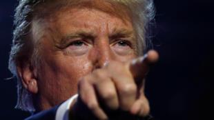 圖為美國總統選舉共和黨候選人特朗普在競選中