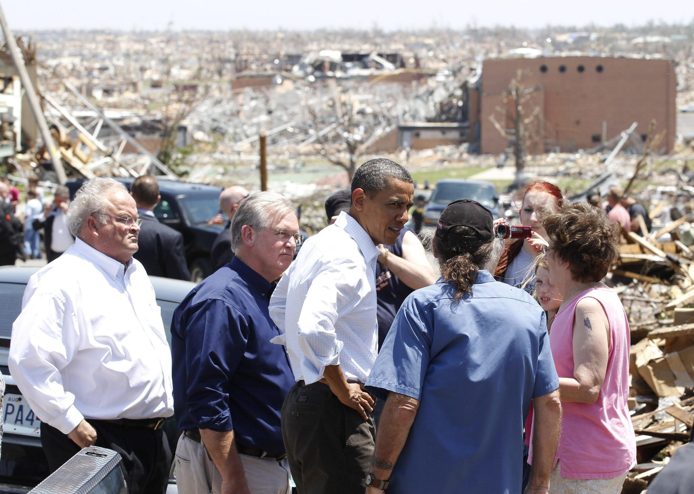 Rais Obama alipotembelea maeneo yaliothiriwa Mei 29, 2011.