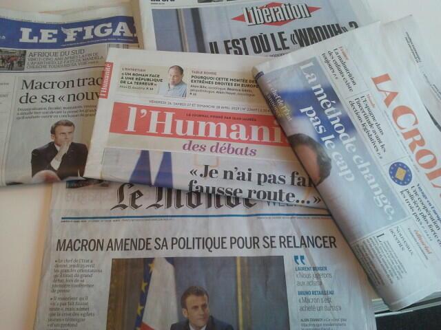 Primeiras páginas dos jornais franceses de 26 de abril de 2019