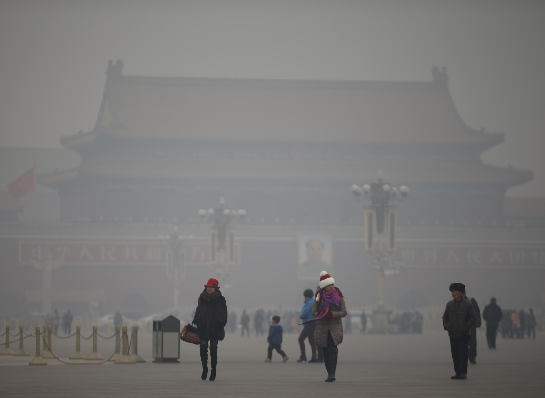 雾霾下的北京天安门