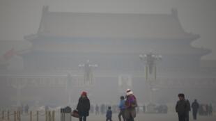 霧霾下的北京天安門