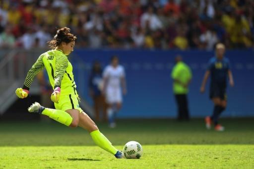 La gardienne américaine Hope Solo face à la Suède, le 12 août 2016 aux JO de Rio