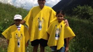 Campo Elias y sus hijas en el Col du Portet, 25 de julio 2018.