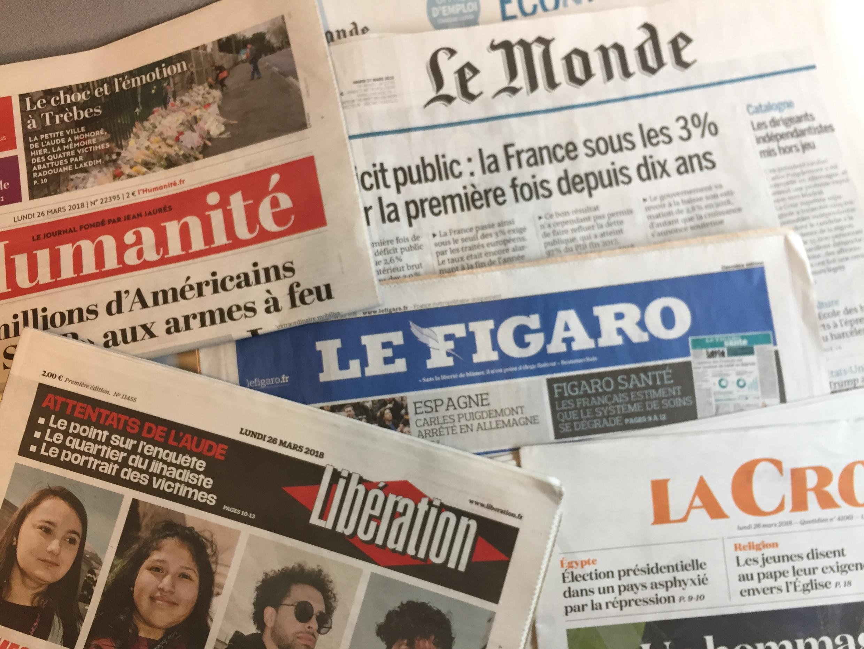 Primeiras páginas dos jornais franceses de 26 de março de 2018