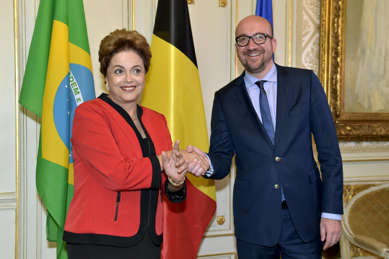 A presidente Dilma Rousseff foi recebida pelo primeiro-ministro belga, Charles Michel.