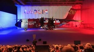 France's new Airbus A400M military transport plane is unveiled at teh assembly plant in Seville