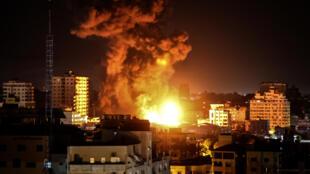 Bombardeo del ejército israelí en Gaza, el 17 de mayo de 2021