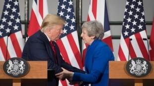 Le président américain Donald Trump et la Première ministre britannique Theresa May lors de leur conférence de presse à Londres, le 4 juin 2019.
