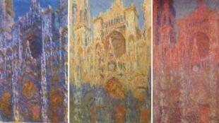 """莫奈笔下三幅鲁昂大教堂画作。La Cathédrale de Rouen par Claude Monet. """"Le portail, soleil matinal"""", """"Effet de soleil, fin de journée"""" et """"Façade"""" (de g. à dr.)"""