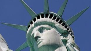 美国纽约自由女神像 局部 资料照片