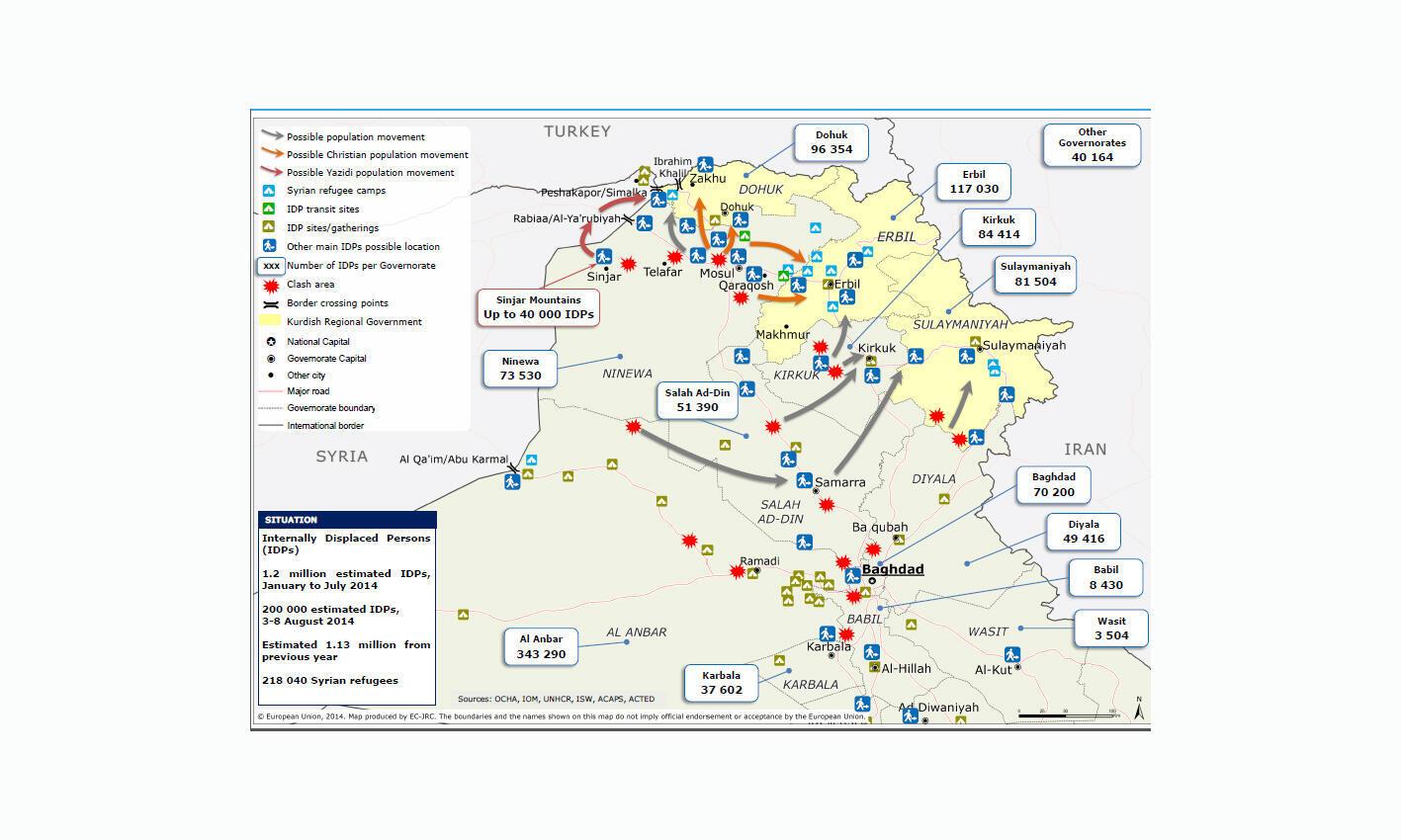 Cartes des déplacements des populations fuyant l'avancée des jihadistes de l'Etat islamique dans le nord de l'Irak (au 13 août 2013).