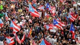 Manifestation à Porto Rico le jeudi 25 juillet pour célébrer la démission du gouverneur Ricardo Rossello.