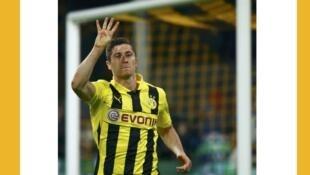 L'attaquant polonais du Borussia Dortmund Robert Lewandowski, le 24 avril 2013.