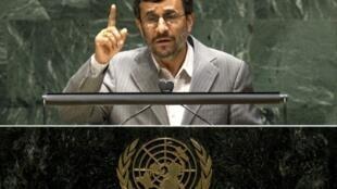 Le président iranien Mahmoud Ahmadinejad lors de son discours sur le nucléaire à l'ONU à New York, le 3 mai 2010.
