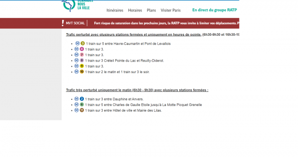 A snapshot of the state of traffic in Paris on Friday 27 December as nationwide industrial action hit its 23rd day.