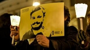 Activists demonstrate in front the Italian Parliament on January 25, 2017 to mark the first anniversary since the disappearance in Egypt of Italian student Giulio Regeni