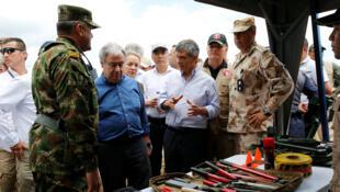 O secretário geral da ONU, Antonio Guterres visita um centro de reintegração dos rebeldes das Farc, na Colômbia